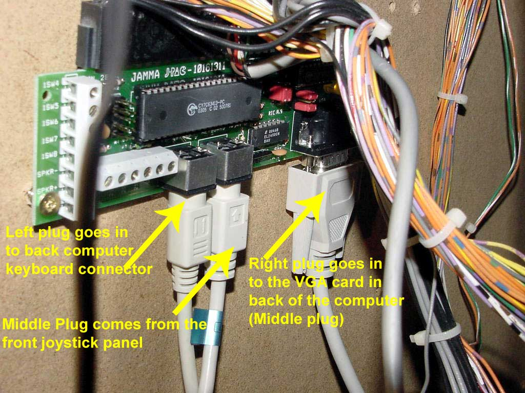 Congratulations On Purchasing A Mame Cabinet 2 Axis Joystick Wiring Diagrams You Want To Make Sure All The Wires In Back Of Computer Are Still Plugged Appropriate Places Pictures Below Show Proper